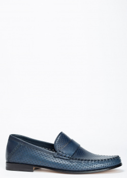 Лоферы Santoni из темно-синей гладкой кожи, фото