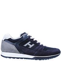 Синие кроссовки Hogan на белой шнуровке, фото