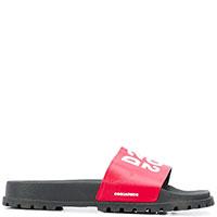Красные шлепанцы Dsquared2 с брендовым принтом, фото