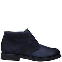 Синие ботинки Doucal's из кожи и замши, фото
