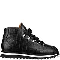 Черные кроссовки Doucal's с тиснением кроко, фото