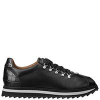 Черные кроссовки Doucal's с частичным тиснением кроко, фото