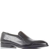 Кожаные туфли-лоферы Giovanni Conti черного цвета с перфорацией, фото
