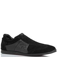 Замшевые кроссовки без шнуровки Gianfranco Butteri черного цвета, фото