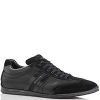 Кроссовки из кожи с замшевыми элементами Gianfranco Butteri черного цвета, фото