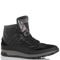 Ботинки из черной кожи Dino Bigioni с замшевыми элементами, фото