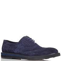 Замшевые броги Dino Bigioni синего цвета, фото
