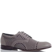 Серые туфли Gianfranco Butteri из гладкой кожи с перфорацией, фото