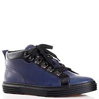 Синие ботинки Giampiero Nicola с черными вставками, фото