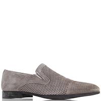 Замшевые туфли Giampiero Nicola серого цвета с перфорацией, фото