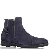 Замшевые ботинки синего цвета Giampiero Nicola с декоративными молниями, фото