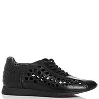 Кроссовки черные Gianfranco Butteri с крупной перфорацией, фото