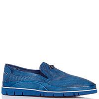 Слипоны синие Gianfranco Butteri с перфорацией, фото