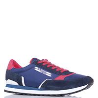 Синие кроссовки Trussardi Jeans с красной шнуровкой, фото