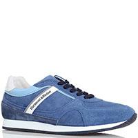 Кроссовки из замши с мелкой перфорацией Harmont&Blaine голубого цвета, фото