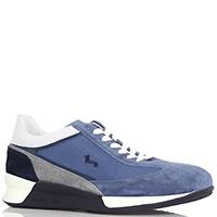 Синие замшевые кроссовки Harmont&Blaine с серыми элементами, фото
