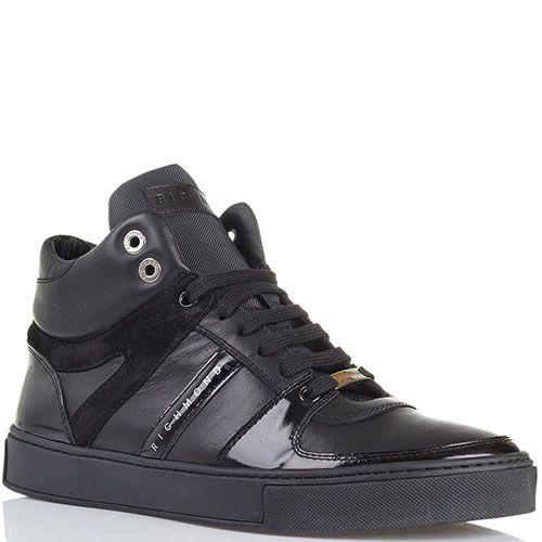 Высокие кожаные кеды черного цвета Richmond с лаковыми и замшевыми деталями, фото