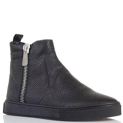 Ботинки из кожи с тиснением под змею черного цвета Richmond на молнии, фото