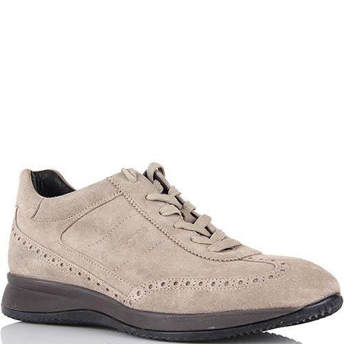 Мужские кроссовки Samsonite замшевые бежевого цвета с перфорацией, фото