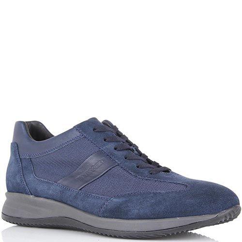 Мужские кроссовки Samsonite из синей замши с текстильными вставками, фото