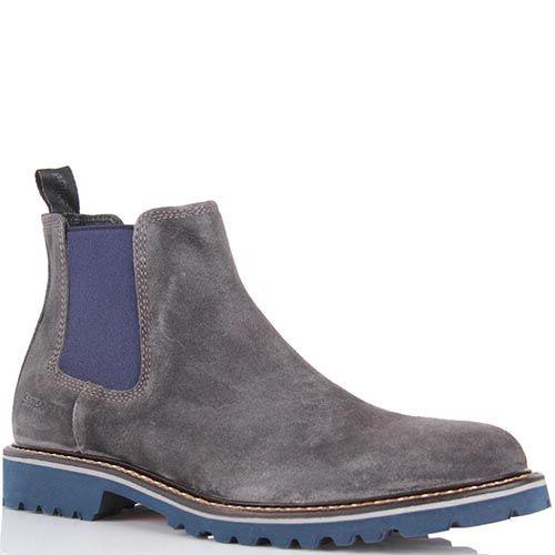 Замшевые ботинки Samsonite серого цвета со вставкой-резинкой синего цвета, фото