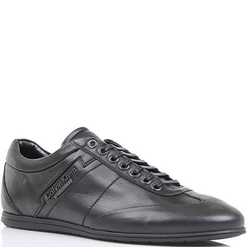 Кроссовки Calvin Klein черного цвета кожаные с металлическим логотипом, фото