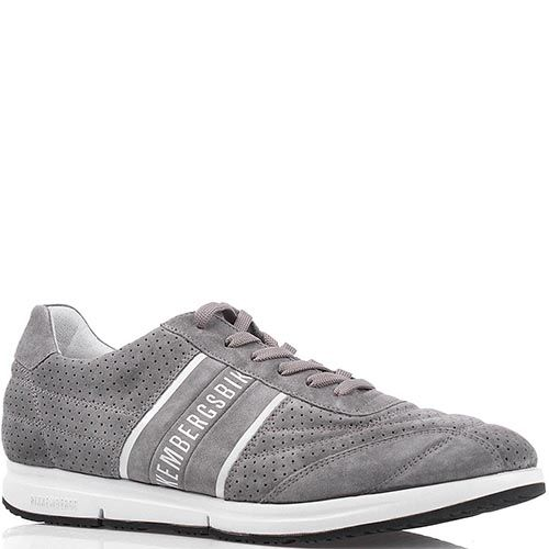 Мужские кроссовки Bikkembergs из замши серого цвета с брендированными полосками по бокам, фото