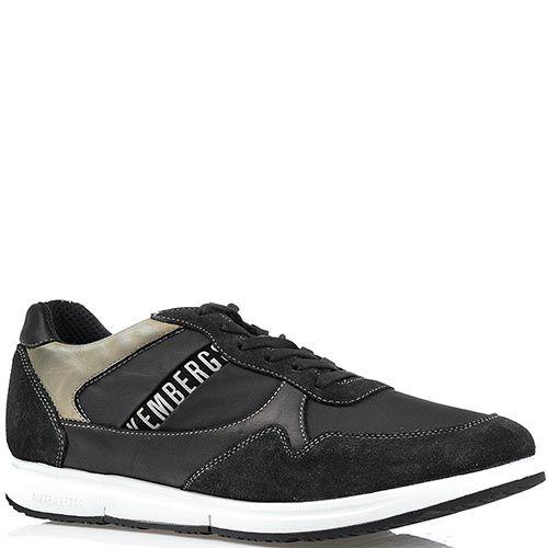 Мужские кроссовки Bikkembergs из текстиля и кожи со вставками из замши черного цвета, фото