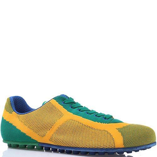 Яркие текстильные кроссовки Bikkembergs желто-зеленые, фото
