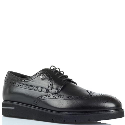Черные кожаные туфли-броги Roberto Serpentini на толстой подошве, фото