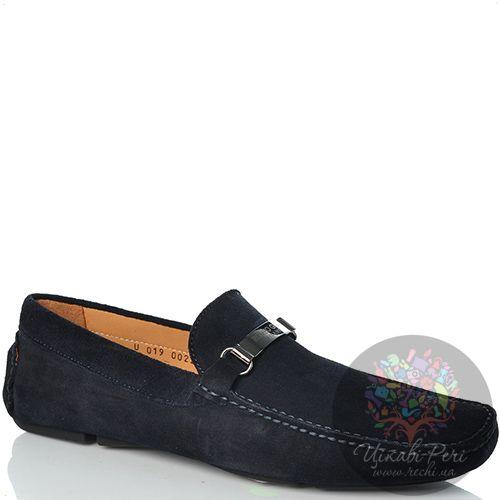 Лоферы Romeo Gigli замшевые черно-синие мягкие с металлической брендированной перемычкой, фото