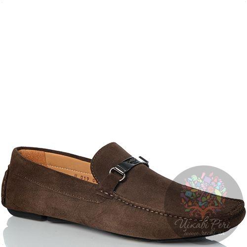 Лоферы Romeo Gigli замшевые коричневые мягкие с металлической брендированной перемычкой, фото