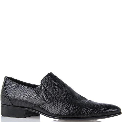 Мужские туфли Roberto di Paolo из кожи варана черного цвета со вставками-резинками, фото