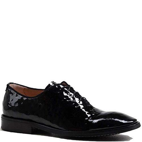 Мужские туфли Modus Vivendi из натуральной фактурной лаковой кожи черного цвета, фото