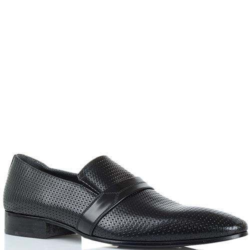 Кожаные туфли с эффектом плетения Giovanni Conti черного цвета, фото