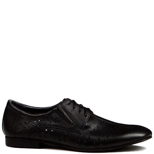 Мужские туфли Modus Vivendi из кожи черного цвета с перфорацией, фото
