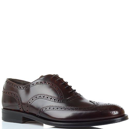 Туфли-броги коричневого цвета Lanciotti de Verzi из полированной кожи, фото