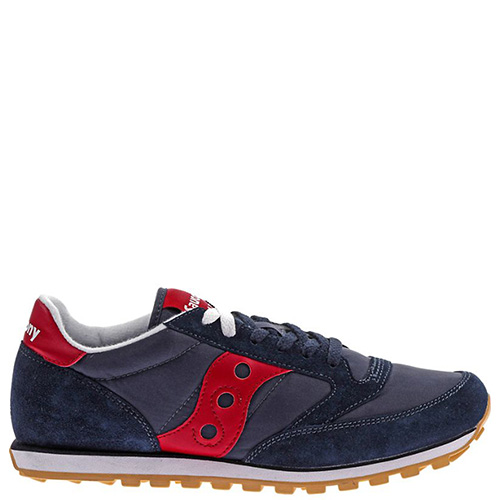 Кроссовки Saucony Jazz Lowpro синего цвета с красными шнурками, фото