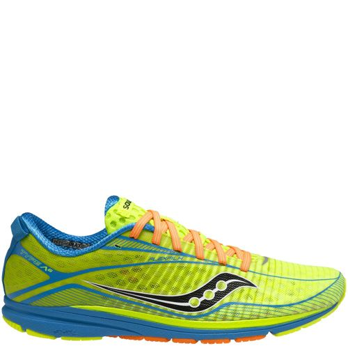 Очень легкие мужские кроссовки Saucony Type A6 ярко-зеленые с голубым и оранжевым, фото