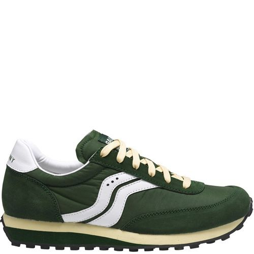 Мужские кроссовки Saucony Trainer 80 темно-зеленые с белым, фото
