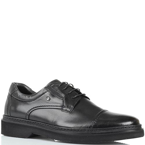 Кожаные туфли черного цвета Roberto Serpentini на толстой подошве, фото