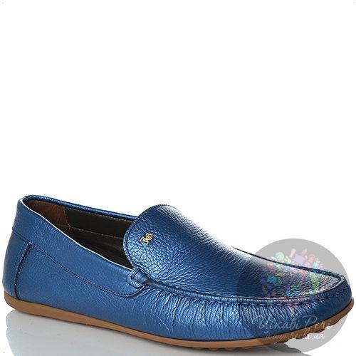 Слиперы John Galliano кожаные синие мягкие, фото