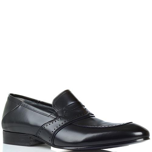 Кожаные туфли-лоферы Giovanni Conti из полированной кожи черного цвета, фото