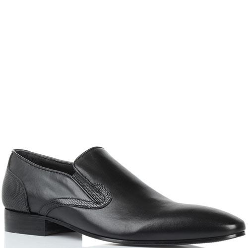 Черные кожаные туфли Borsallino с вставками-резинками, фото