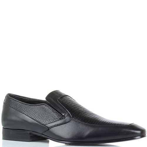 Мужские туфли Borsallino из натуральной кожи с вставками под кожу рептилии, фото