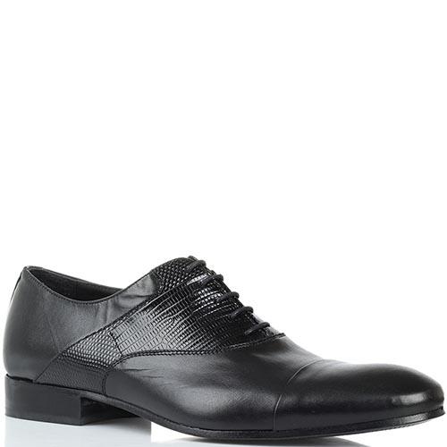 Кожаные туфли-оксфорды черного цвета Borsallino с тиснеными деталями, фото