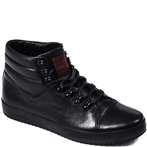 Зимние ботинки Modus Vivendi из натуральной кожи черного цвета на шнуровке, фото