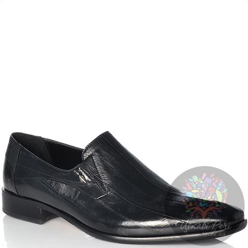 Туфли Valerio Neri черные кожаные с текстурой угорь, фото