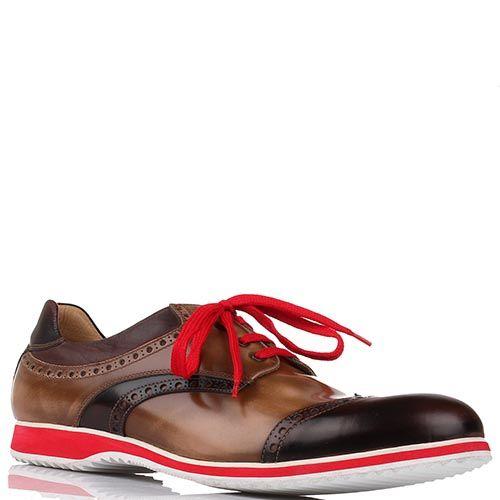 Туфли-броги G.K.M коричневого цвета с красной шнуровкой, фото