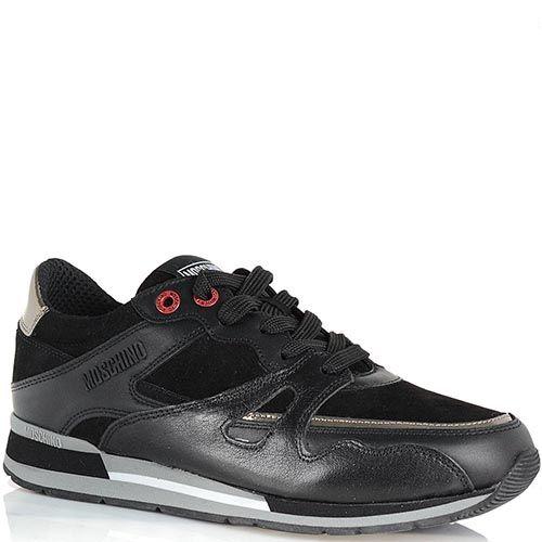 Кроссовки Moschino из замши и кожи черного цвета, фото